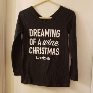 BEBE 3/4 sleeve Dreaming of a wine Christmas